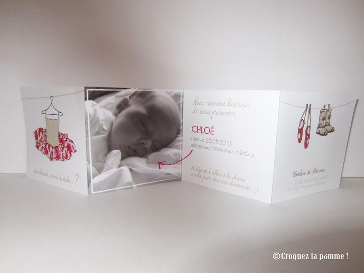 Faire-part naissance danseuse ou chasseuse Birth Card ©croquezlapomme Sur-mesure par Croquez la pomme !