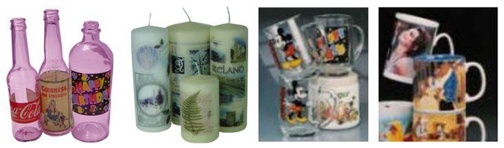 Les chromos déposés à chaud bobine à bobine - sur les bouteilles, bougies, verres et mugs