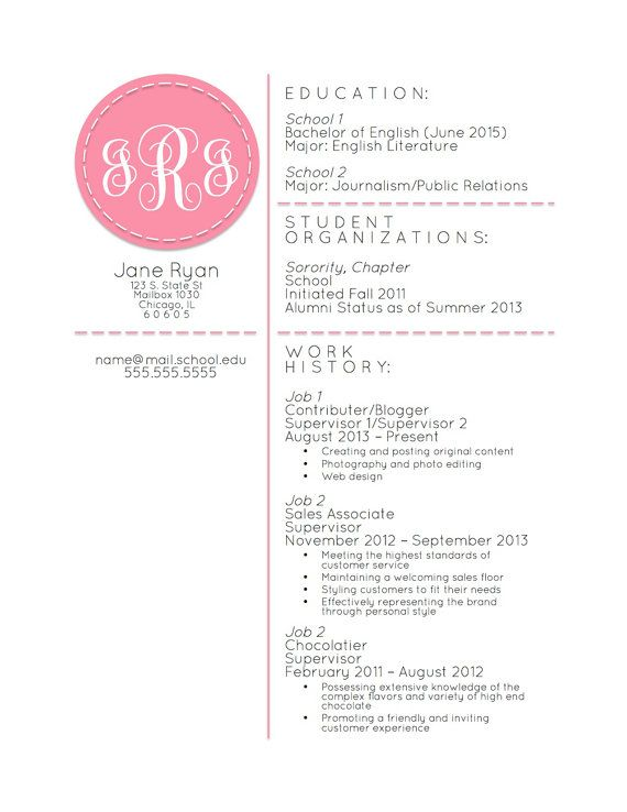 Sample Resume For Sorority Recruitment Sample Resume Pinterest  Sorority Resume Template