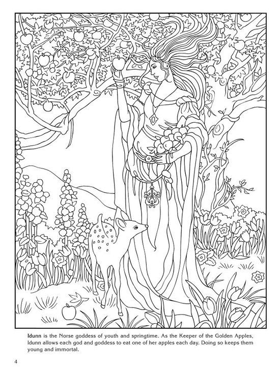 140 best goddess coloring pages for adults images on pinterest ... - Art Nouveau Unicorn Coloring Pages
