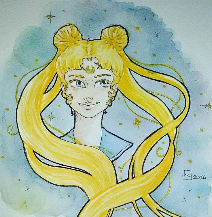 """Fighting evil by moonlight Winning love by daylight""🌙  #SailorMoon #UsagiTsukino #fanart #watercolor"