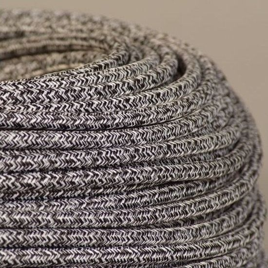 Fabric Textile Cable Wire For Lighting Round 2x0.75 In Grey Mohair Natural