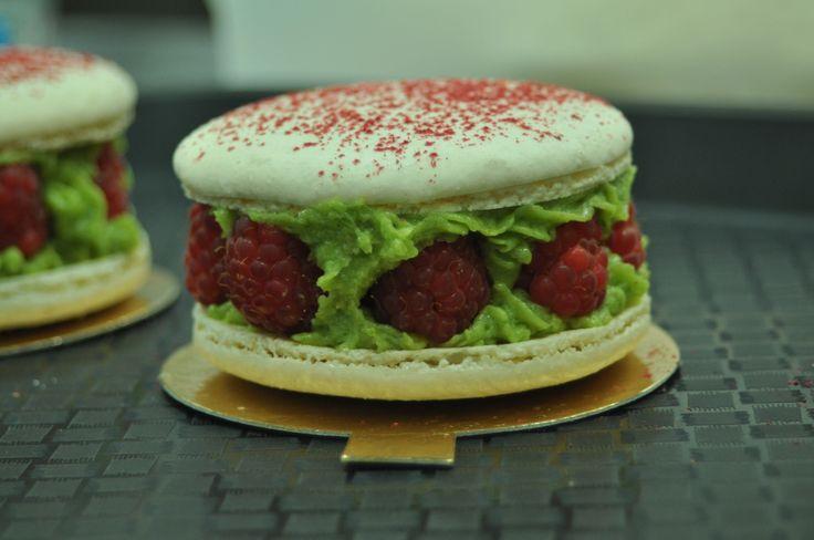 Pistachio/Raspberry Giant Macaron