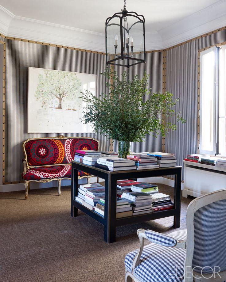 Upholstered walls: Ticking Stripes, Living Rooms, Idea, Elle Decor, Interiors Design, Carolina Herrera, Blue Houses, Wall Treatments, Herrera Baez