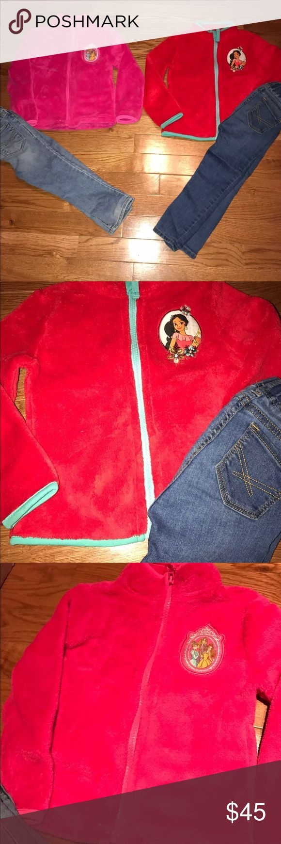 Toddler girls bundle Toddler girls bundle of 2 disney fleece( disney princesses and Elena of avalor) both size 2T. Disney princess fleece has a small tear showed in the photos. Can be sewed other than that in great condition. Also includes 2 gap jeans size 2 also in good condition Disney Jackets & Coats