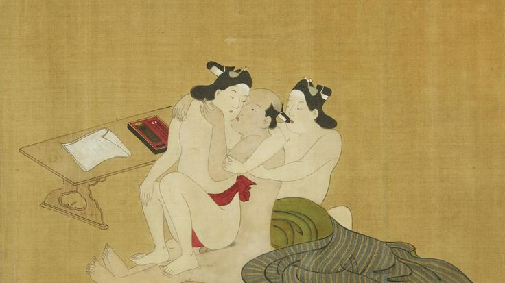 Miyagawa Choshun 1683-1753. A Rare and Important Nanshoku Male-Male Shunga Handscroll.