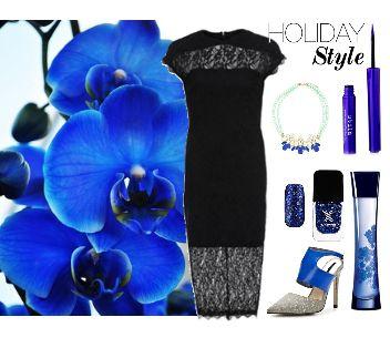 Черно-синий лук с кружевным платьем,  black and blue look