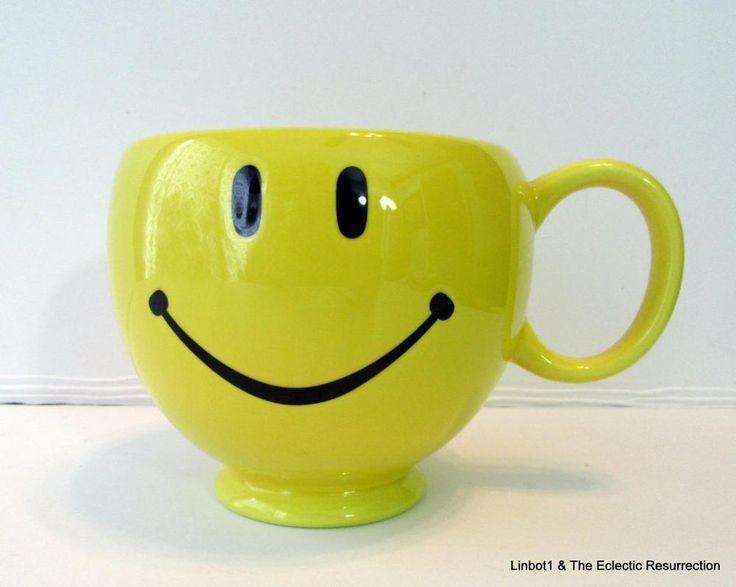 Vintage 1970s Smiley Happy Face Mug 20 oz Round Coffee Cup Teleflora Ware