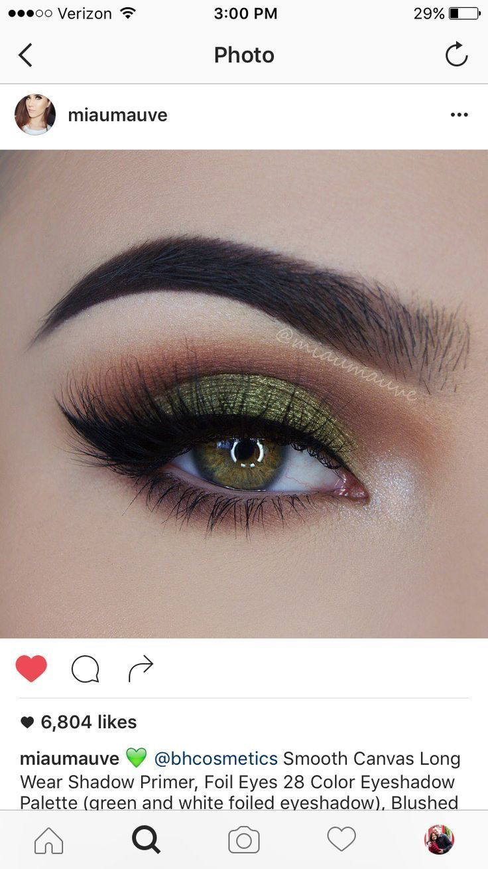 Olive Green Eyeshadow Look Makeup Greeneyeshadows Colorful Eye Makeup Green Eyeshadow Green Eyeshadow Look