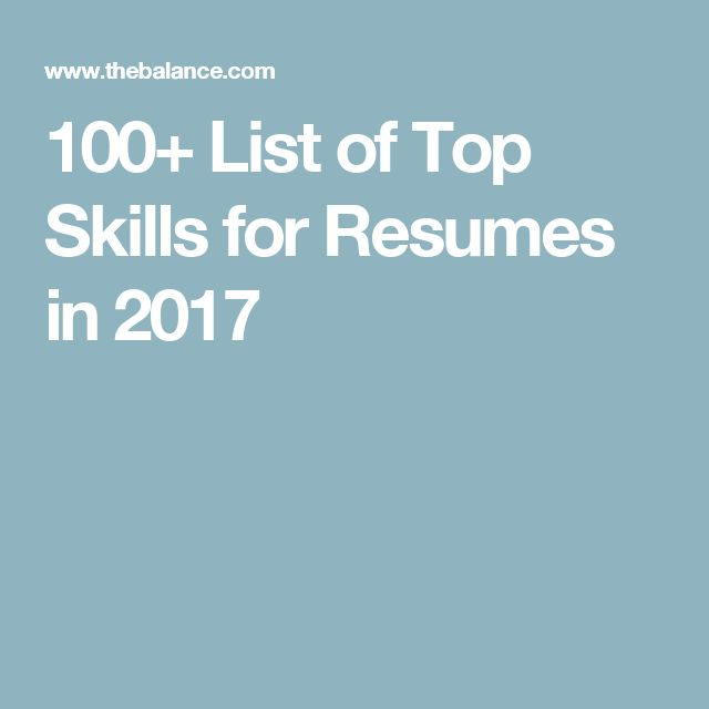 100+ List of Top Skills for Resumes in 2017