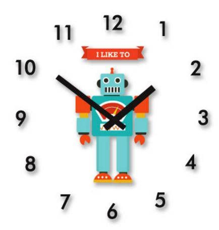 robot clock/boy robot decal wall clock/baby boy wall clock/kids wall clock/Scandinavian clock/clock decor/nursery child decor/robot decal by AllThatArtVille on Etsy