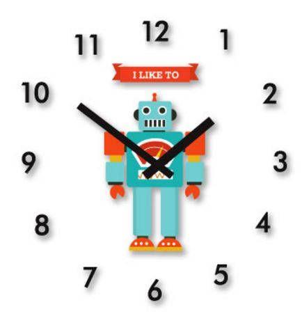 robot clock/boy robot decal wall clock/baby boy wall clock/kids wall clock/Scandinavian clock/clock decor/nursery child decor/robot decal by AllThatArtVille on Etsy