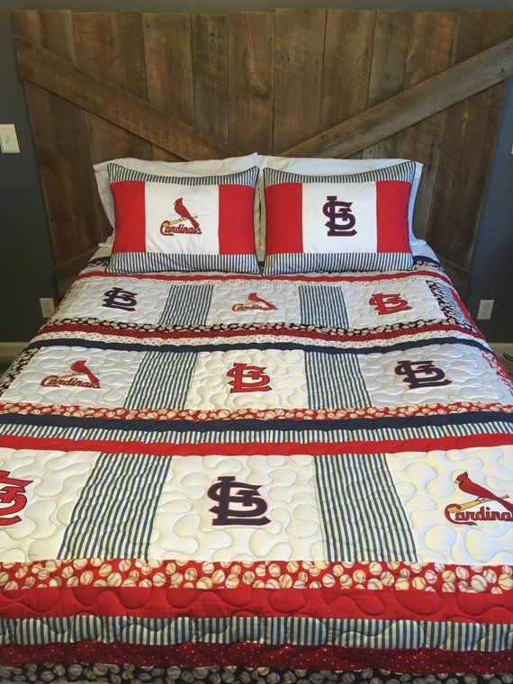 St Louis Cardinals Queen Size Quilt With Matching Pillow Shams