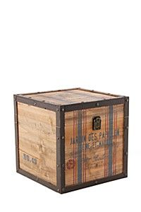 INDUSTRIAL PAPILLON WOODEN BOX, LARGE