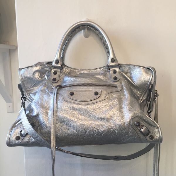 Balenciaga Classic City Bag in Silver. Originally £1500, this one is in immaculate pre-owned condition and priced at £650
