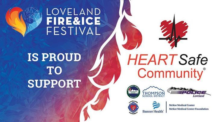 """Great news! The Loveland Fire & Ice Festival has partnered with the HeartSafe Community as its nonprofit beneficiary for the 2018 festival. The nation's largest Valentine's Day festival and HeartSafe are teaming up to increase heart health awareness during American Heart Month in February. As part of the partnership, the """"HeartSafe Community"""" designation will be introduced to downtown Loveland as HeartSafe is working to place automated external defibrillators (AEDs) in public gathering…"""