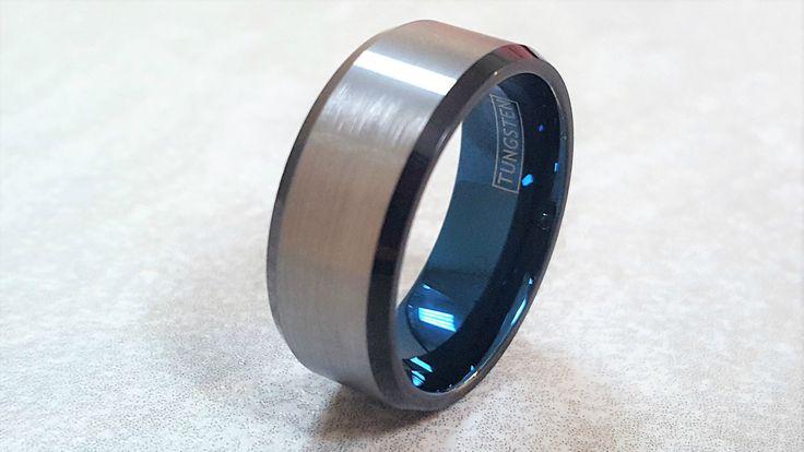 Tungsten Wedding Band, Tungsten Ring, Men's Tungsten Wedding Band, Personalized Ring, Blue Tungsten Ring, Men's Tungsten Ring, Ring by BrielleShoppe on Etsy https://www.etsy.com/au/listing/495049766/tungsten-wedding-band-tungsten-ring-mens
