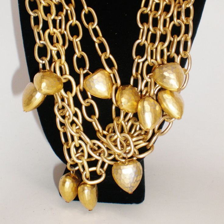 Vintage Ann Klein 11 Fat Puffy Hearts Rich Antique Gold Tone Linked Multi Chains Necklace Lion Head Tag  Exotic Unique Runway Statement by BagsnBling on Etsy