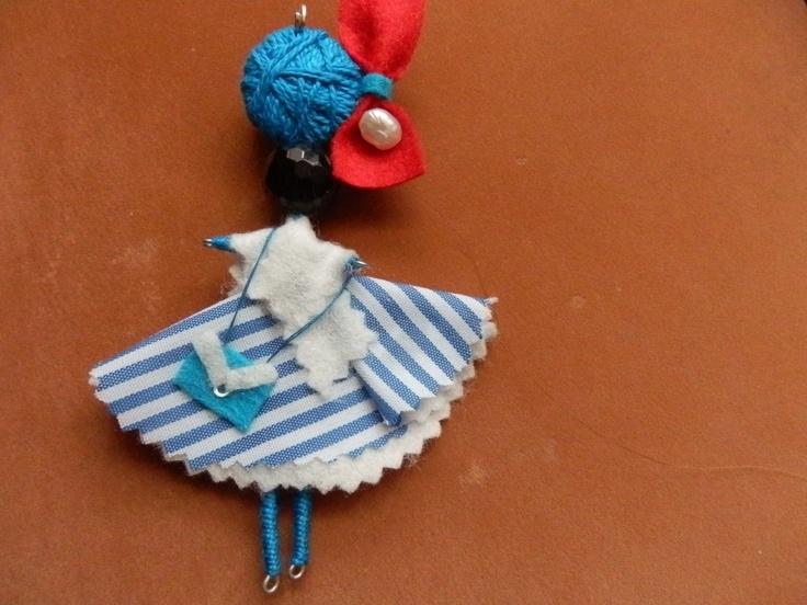 marinera y en azules y blanco con perlas de Algodón de Luna