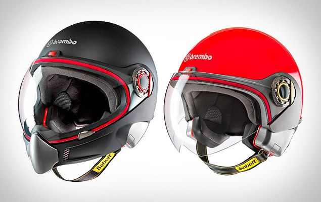 Brembo, the brake company, is making helmets and it comes with an automatic belt fastening system