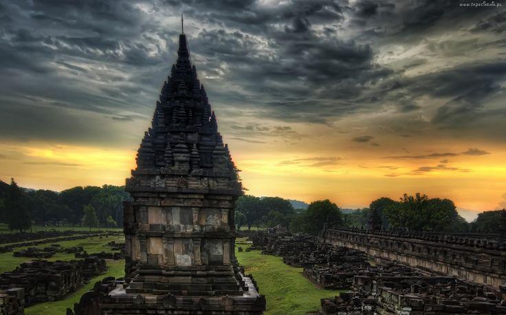 Ruiny, Świątynia, Indie, Zachód Słońca