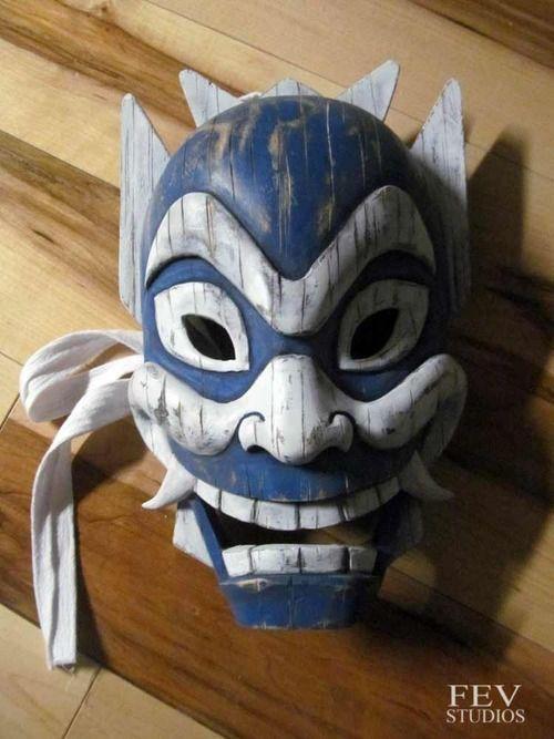 carved Blue spirit mask, being auctioned off for charity http://fevstudios.tumblr.com/post/92687412661/blue-spirit-mask