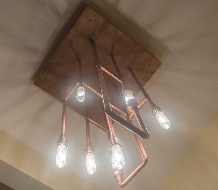 Luminaire suspendu en tuyaux de cuivre - Les Ateliers Hervé