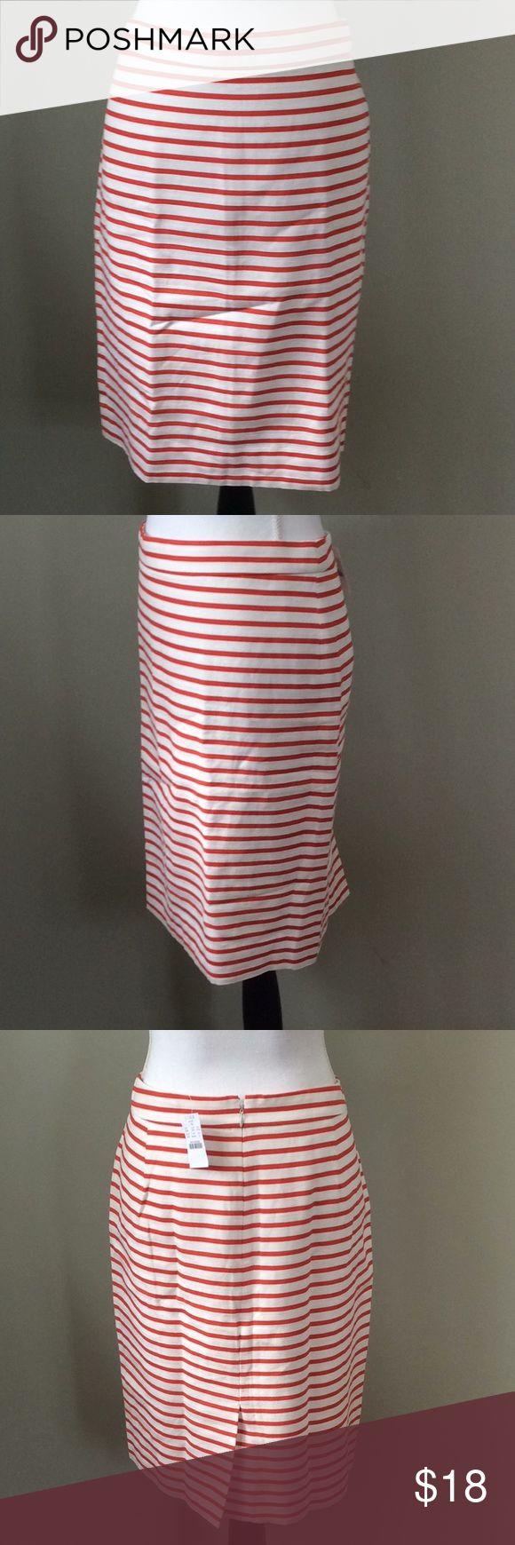 "Orange Striped ""The Pencil Skirt"" Size 12 J. Crew Factory ""The Pencil Skirt"" Orange White Striped Size 12 New Cotton Linen Blend Waist-18.5"" Length-22.5"" J. Crew Factory Skirts Pencil"