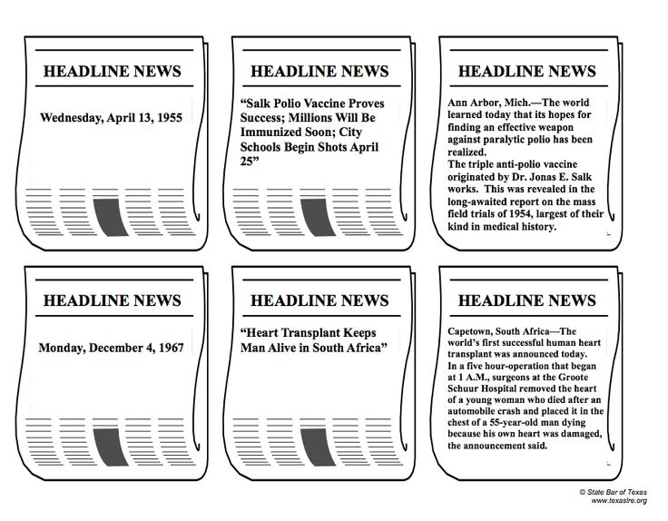 Headlining Progress: Extra! Extra! In this activity, students will match dates, newspaper headlines, and opening paragraphs of articles on historic advancements in technology, medicine, and transportation. Examples include the first successful heart transplant, the discovery of the North Pole, and the moon walk. TEKS: US 27B, US 28A, and US 28D.