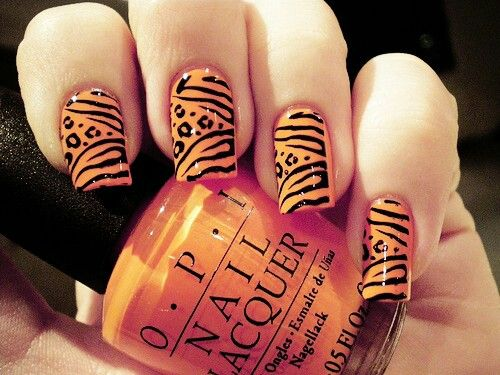 230 best art orange nails design images on pinterest orange nail pink orange yellow wild ombre leopard and zebra print nails prinsesfo Image collections