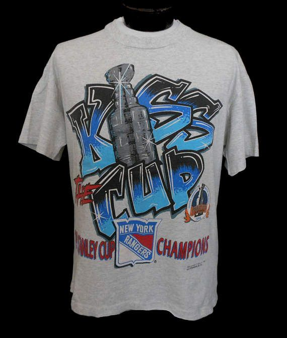 Vintage 90s New York Rangers Graff Art T-shirt, 1990s NHL Stanley Cup Champions Tee, by Magic Johnson T's, Adult Size Large to Extra Large