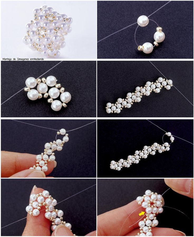 Step by step stitching of a pearl ring