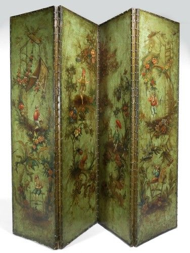 18thC Italian painted Ieather 4-fold Screen