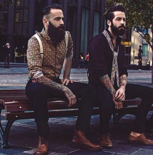 Gorgeous bearded men + tattoos = delight for the sight ...  thank you God.