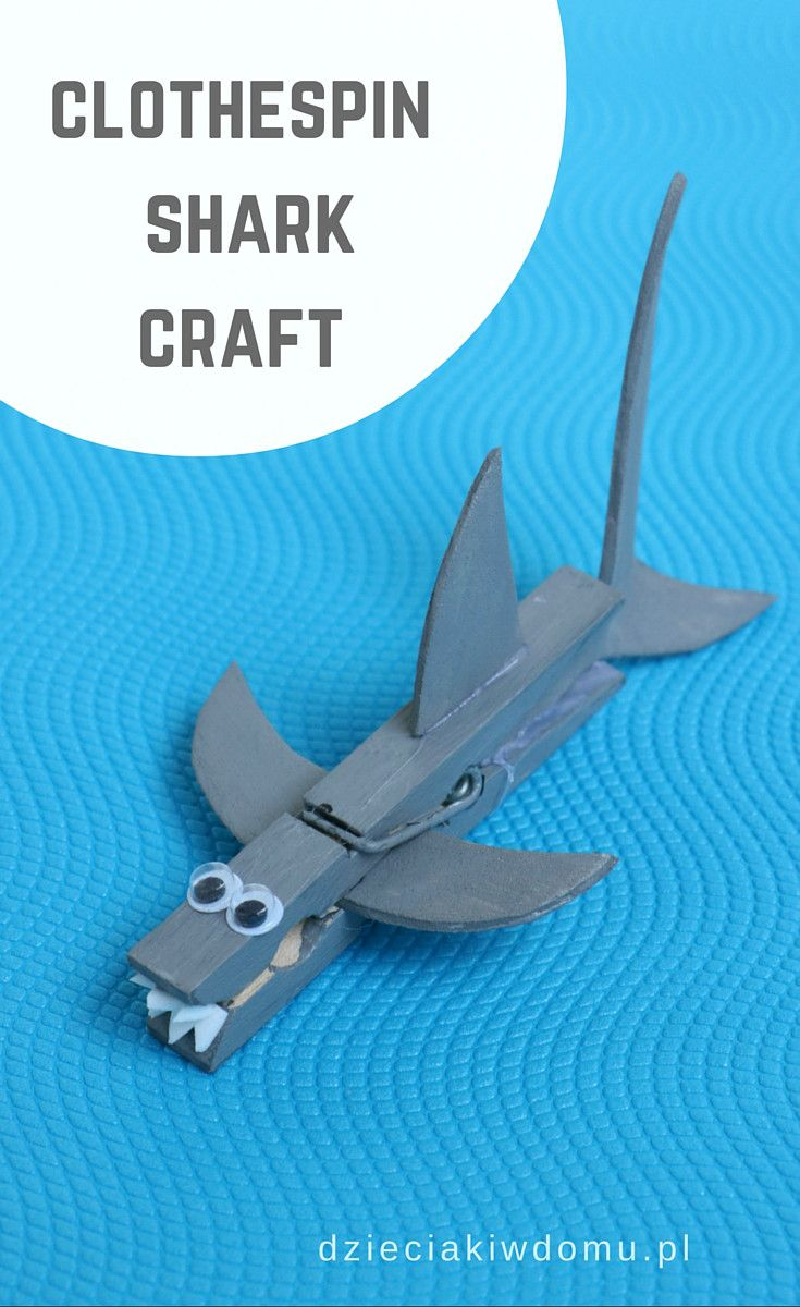 clothespin shark craft for kids                                                                                                                                                      More