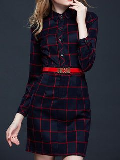 British Fashion Korean Women Polo Neck Plaid Pattern Red A-Line Dresses