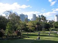 """City Botanic Gardens - The City Botanic Gardens is located on the Brisbane River adjacent to the central business district. The gardens area has frontages on both Alice Street and George Street.  The Queensland Government Heritage Register describes the Gardens as """"[T]he most significant, non-Aboriginal cultural landscape in Queensland, having a continuous horticultural history since 1828, without any significant loss of land area or change in use over that time."""