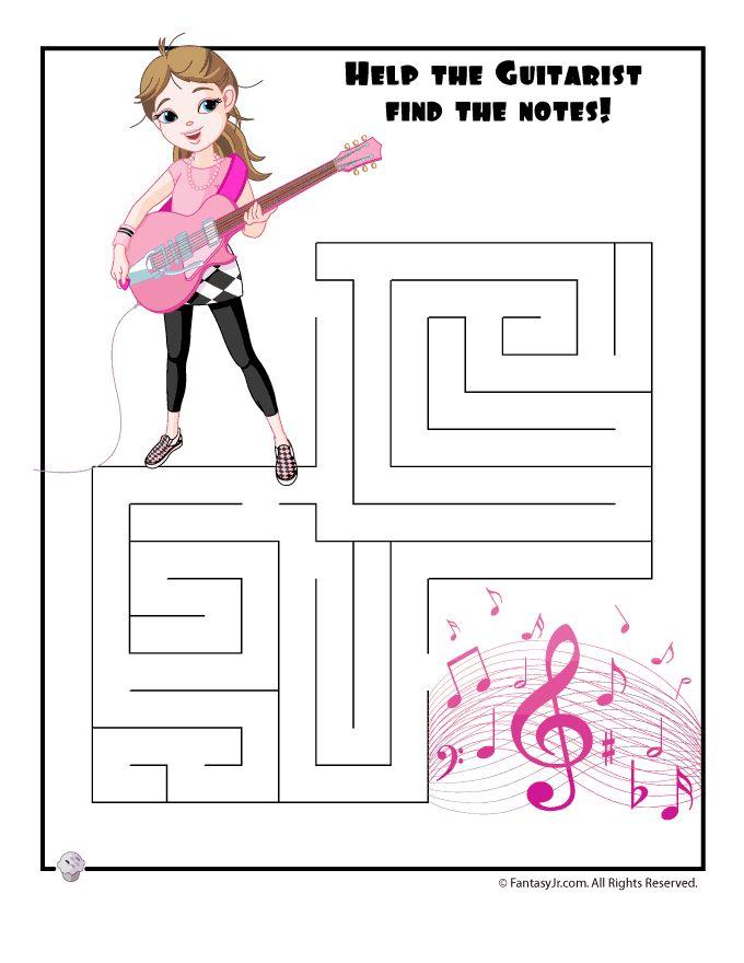 Easy Kids Mazes Easy Guitar Girl Maze – Fantasy Jr.