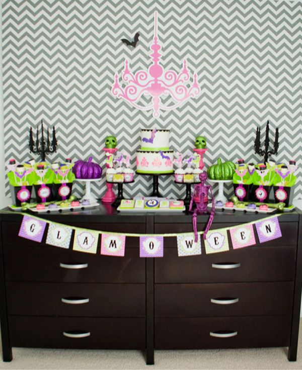 glam halloween party dessert table