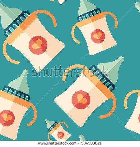 Baby bottle with handles flat icon seamless pattern. #love #lovepattern #vectorpattern #patterndesign #seamlesspattern