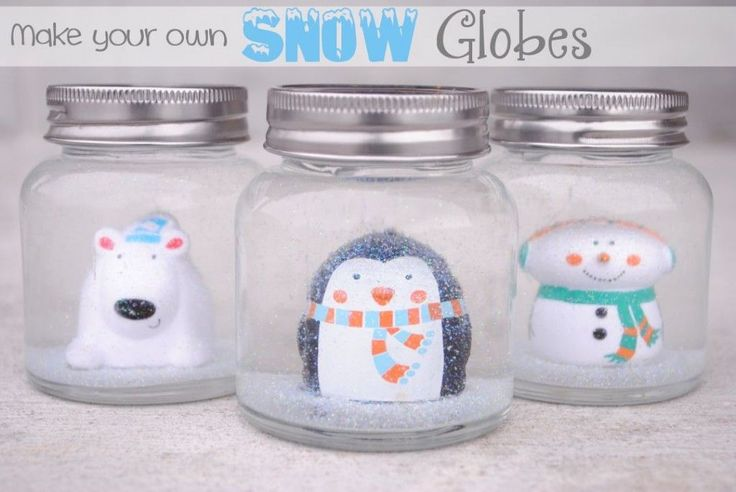 These DIY Snow Globes for kids are a fun holiday craft for school parties, Christmas parties or just for fun at home. Make your own snow globe with a jar.
