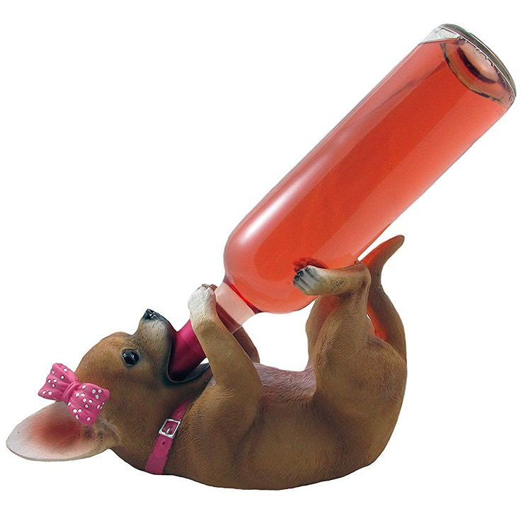 Amazon.com - Pretty in Pink Girl Chihuahua Wine Bottle Holder Sculpture in Dog Statues and Figurines As Decorative Bar Tabletop Wine Racks & Stands or Southwestern Kitchen Decor Gifts for Women -