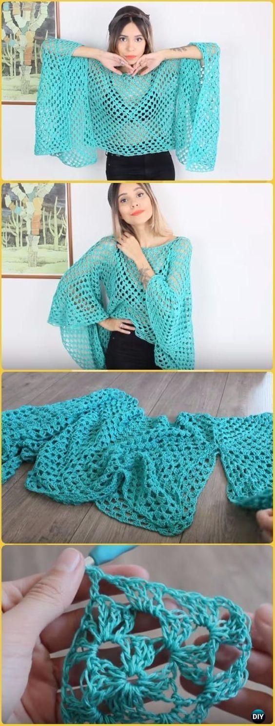 Crochet Easy Granny Square Blouse Free Pattern Video - Crochet Women Pullover Sweater Free Patterns