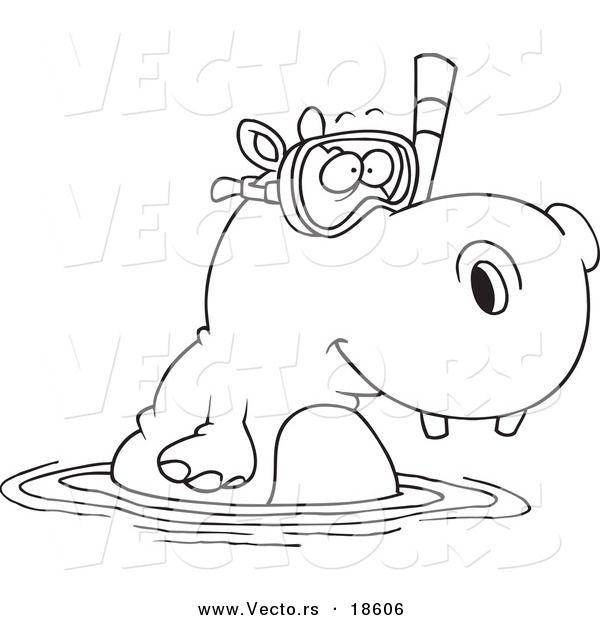 Vector Of A Cartoon Snorkeling Hippo
