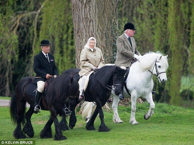 Active: Her Majesty, who is approaching her 89th birthday, was spotted riding her faithful black Fell pony, Carltonlima Emma 13 Apr 2015