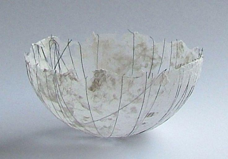 Petra Poolen, paper bowl  See site for paintings, prints, paper sculpture, etc