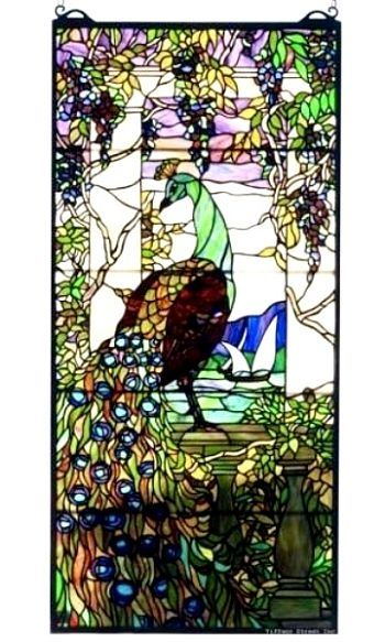 Peacock Wisteria Tiffany Stained Glass Window Panel.