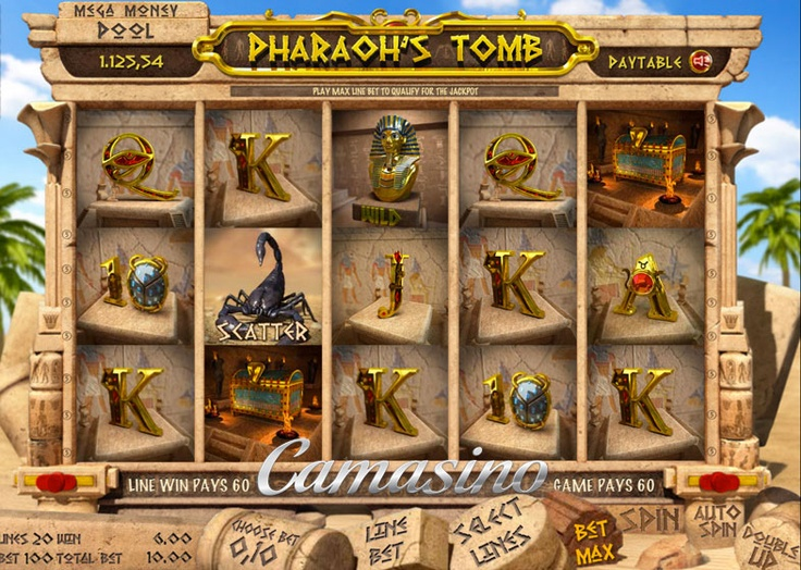 Pharaoh's Tomb  Pharaohs's Tomb is one of the latest and greatest video slot games to hit the market. It features a terrific theme and it's fun and easy to play! Try your chances at getting winning combinations in this hot new 20 win line, 5 reel, 3 row video slot game.