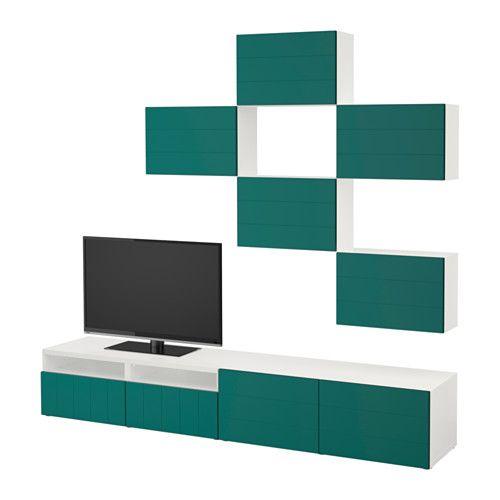 BESTÅ Szafka pod TV - biały/Hallstavik niebiesko-zielony, prowadnica, samodomykająca się - IKEA