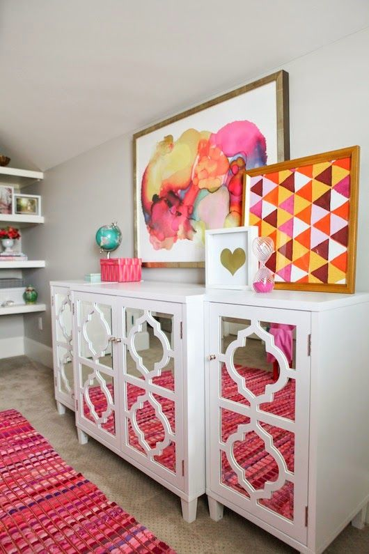 Abstract and geometric art | 6th Street Design School : Pink and Purple Girl's Room Reveal